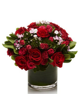 Beautiful Red Roses and Seasonal Pink Blooms- H.Bloom
