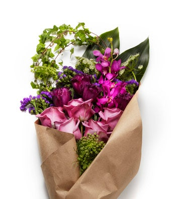 A Modern Bundle of Purple and White Seasonal Flowers with Pink Roses - H.Bloom