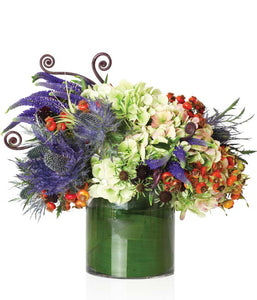 A Contemporary Arrangement of White Hydrangea, Blue Thistle, Green Hydrangea and Berries