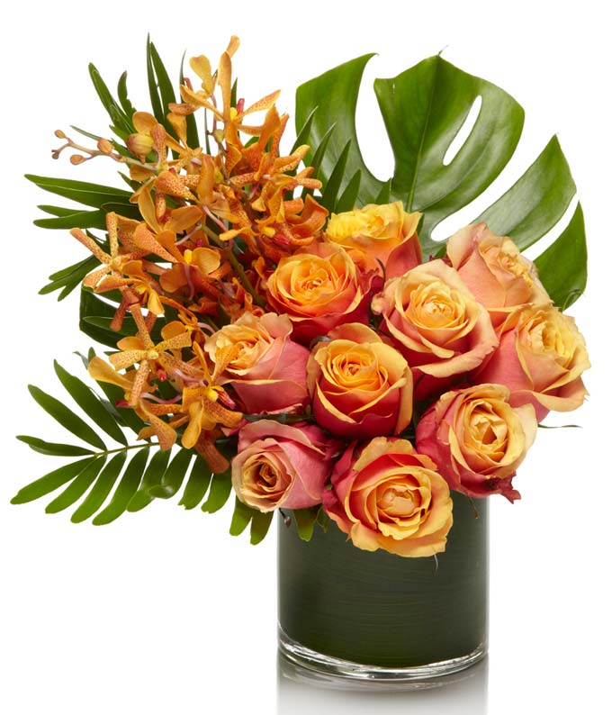 An exotic arrangement of premium orange floral with fun tropical greens.