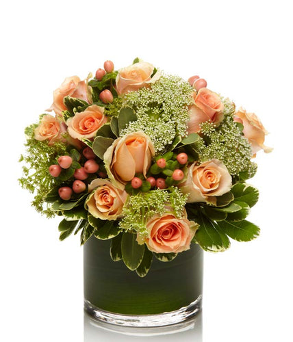 A Luxury Arrangement of Peach Roses, Pink Hypericum Berries and Queen Anne's Lace
