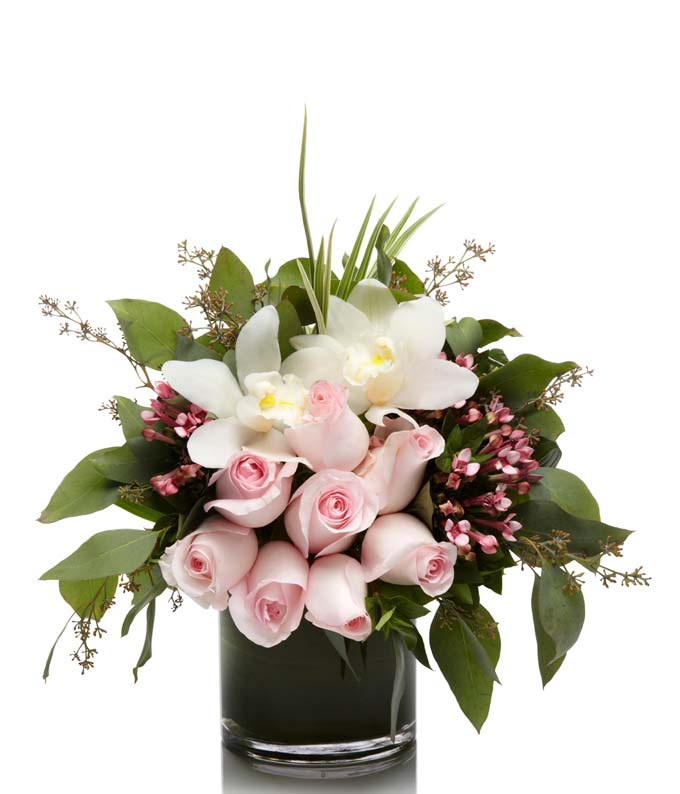 A Beautiful Luxury Pink Roses and White Orchid Arrangement