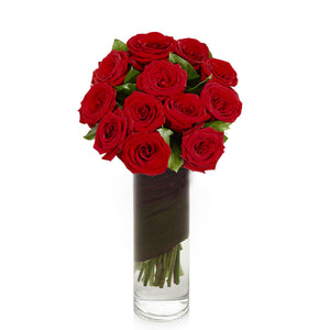 1 Dozen Red Roses in Vase - H.Bloom