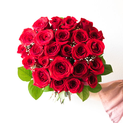 A premium arrangement of 24 long-stemmed red roses.