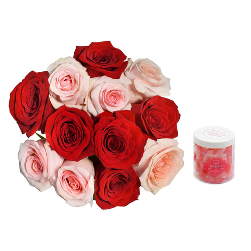 A mix of 12 pink and red premium roses with delicious gummy Sour Smooches
