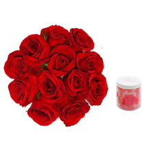 Load image into Gallery viewer, 12 premium red roses with delicious gummy Sour Smooches.