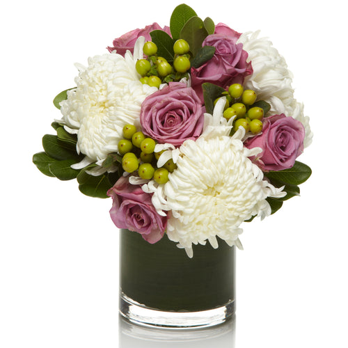Luxury Arrangement with White Mums, Green Berries and Purple Roses - H.Bloom