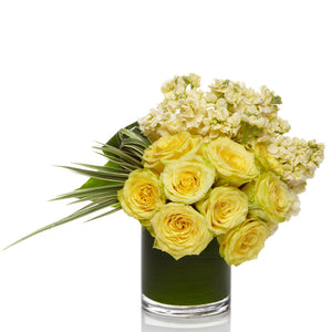 A Fresh Yellow Stock and Rose arrangement  - H.Bloom