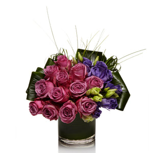 A Luxe Arrangement of Purple Roses and Purple Lisianthus - H.Bloom