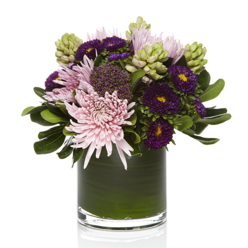 Lavender Mums and Purple Seasonal Blooms with soft greens- H.Bloom