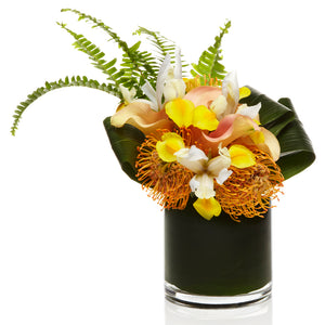 A Luxe arrangement of Orange Pincushion, Yellow Iris, and Peach Calla Lily - H.Bloom