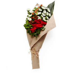 A Bundle of White Mums, Red Roses, Berries and Seasonal Greens- H.Bloom