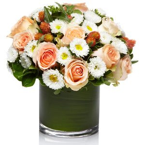 A Fresh Arrangement of White Aster/Mums and Peach Roses - H.Bloom