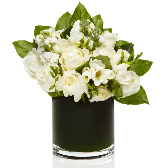 An Elegant Mix of White Stock, Roses and Freesia- H.Bloom