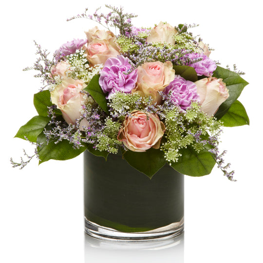 Elegant Blush and Purple Rose Arrangement - H.Bloom