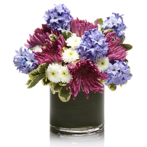 Purple and White Mums with Lavender Hyacinth in Artfully Arranged - H.Bloom