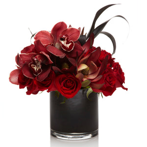 A Luxury Arrangement of Burgundy Cymbidium Orchids and Red Roses  - H.Bloom
