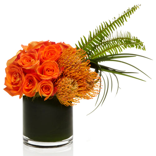 Warm Orange Rose Arrangment - H.Bloom