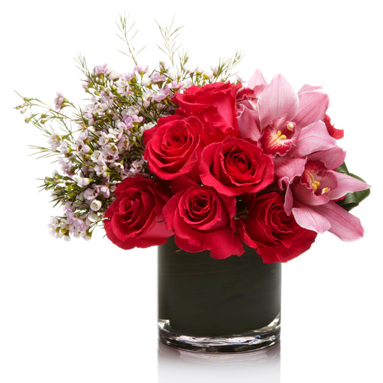 A Girly Arrangement of Hot Pink Roses , Pink Orchids, and Pink Waxflower - H.Bloom
