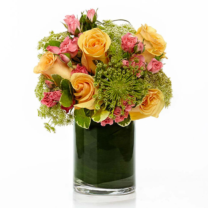 A Elegant Arrangement of Beautiful Yellow and Pink Blooms- H.Bloom