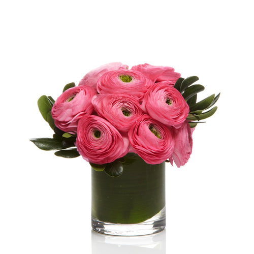 A luxe arrangement of Pink ranunculus and Premium Greenery - H.Bloom