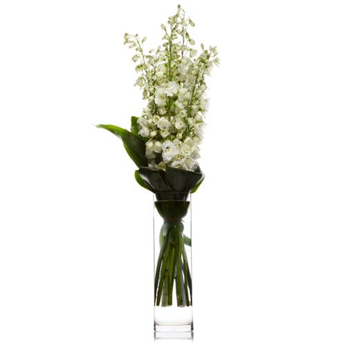 An arrangement of white delphinium or snapdragons, and seasonal white flowers accented with greens in a hurricane vase.