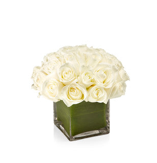 A timeless arrangement of premium Tibet white roses designed artfully in a square glass vase.