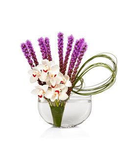 A crescent vase with white cymbidium orchids, purple liatris and accented with grass accents - H.Bloom