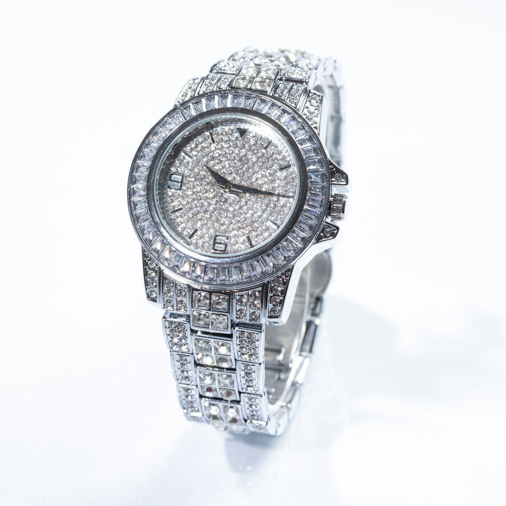 White Gold Baguette Diamond Watch Drip Store WorldWide