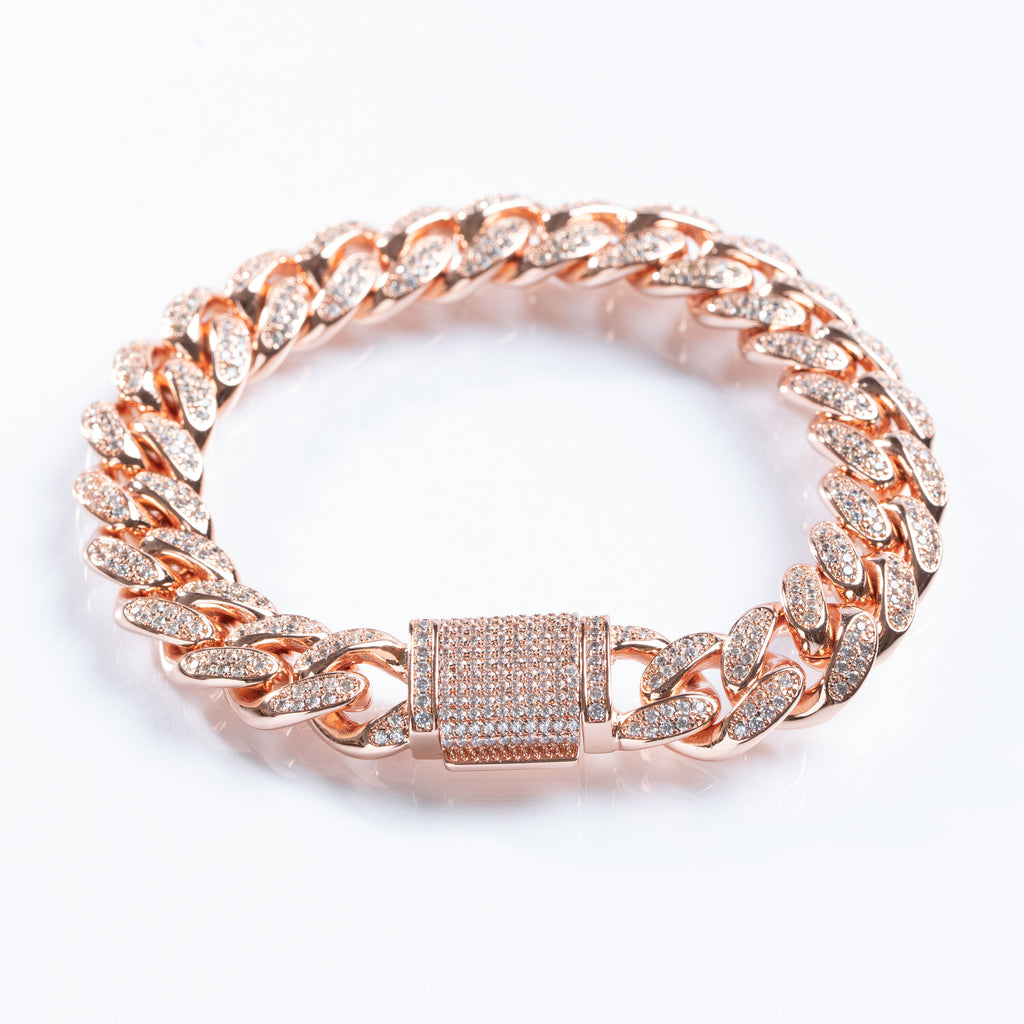 12MM .925 Sterling Silver Rose Gold Cuban Bracelet Drip Store WorldWide