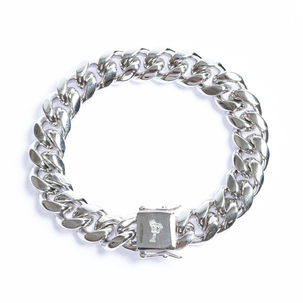 14mm Stainless Steel 18K White Gold Plated Miami Cuban Bracelet
