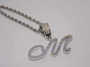 18K White Gold Plated Fancy Initial Pendant