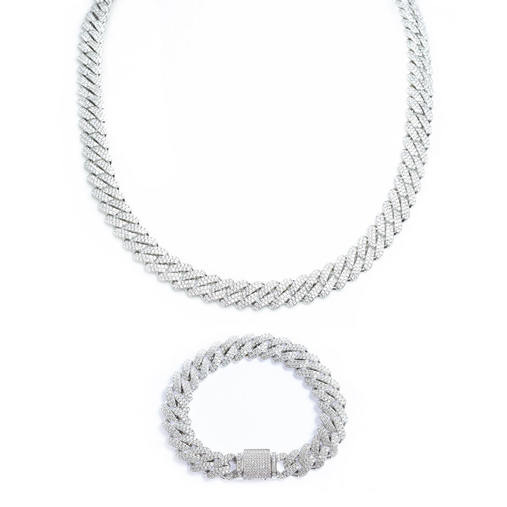 12MM White Gold Iced Prong Cuban Chain + Bracelet Bundle