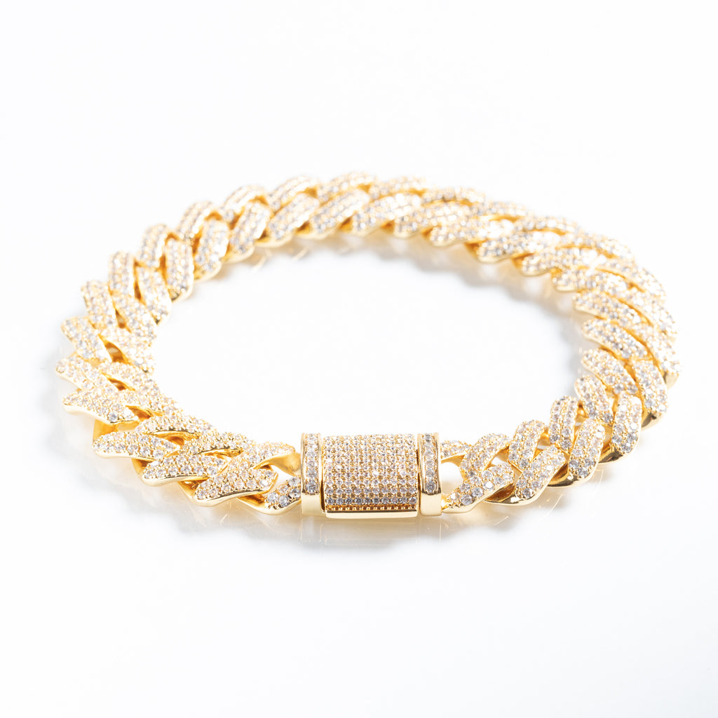 12mm 18K Gold Plated Prong Set Cuban Bracelet