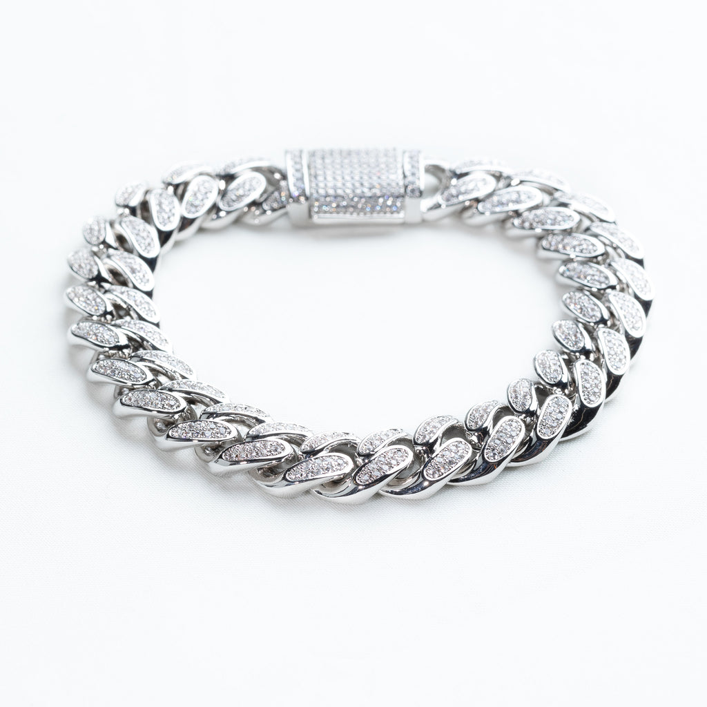 12MM Sterling Silver White Gold Miami Cuban Bracelet