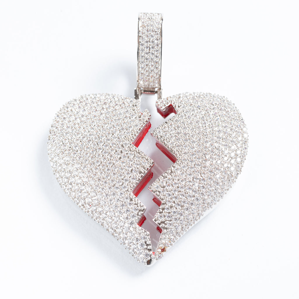 Sterling Silver White Gold Broken Heart Pendant