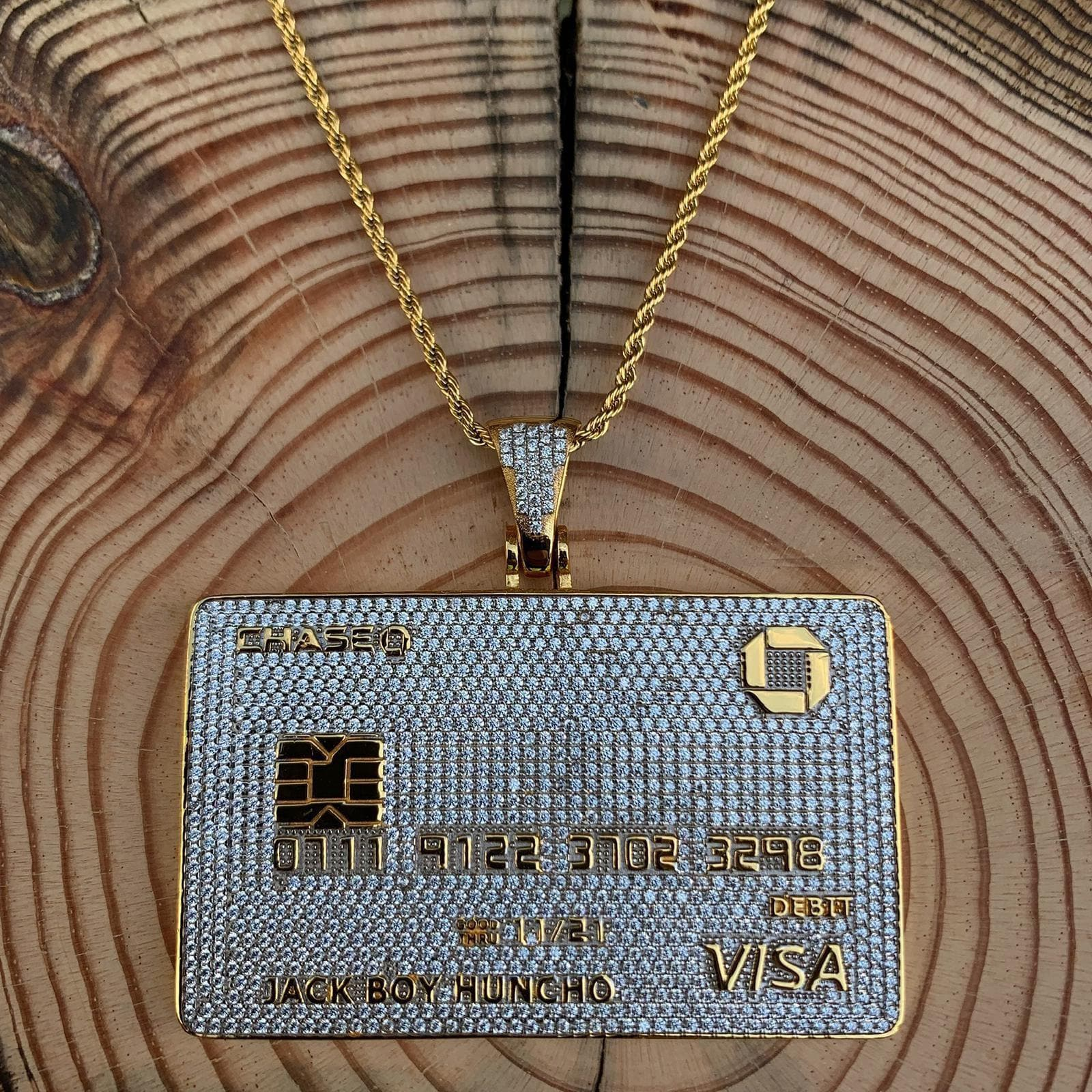 Stainless Steel Gold Bank Card Pendant drip-store-world-wide