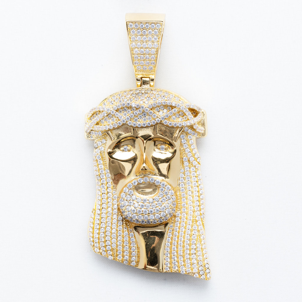 18K Gold Plated XL Jesus Pendant