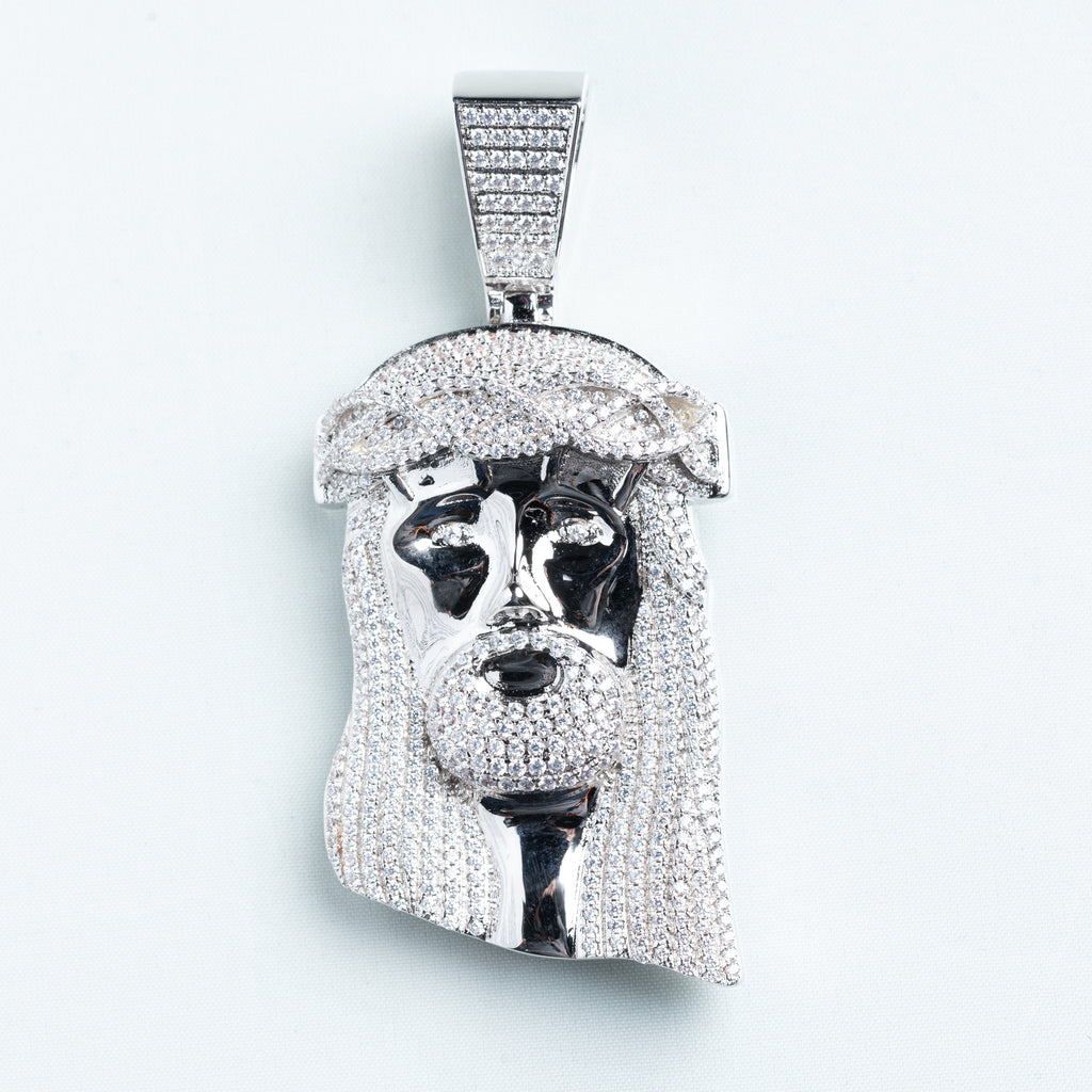 18K White Gold Plated XL Jesus Pendant