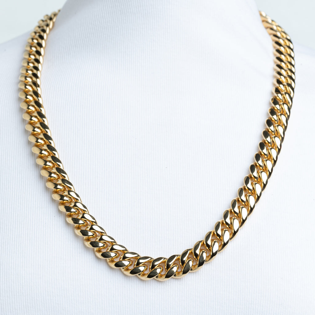 14mm Stainless Steel 18K Gold Plated Miami Cuban Chain