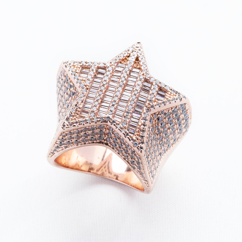 Sterling Silver Rose Gold Baguette Diamond Star ring