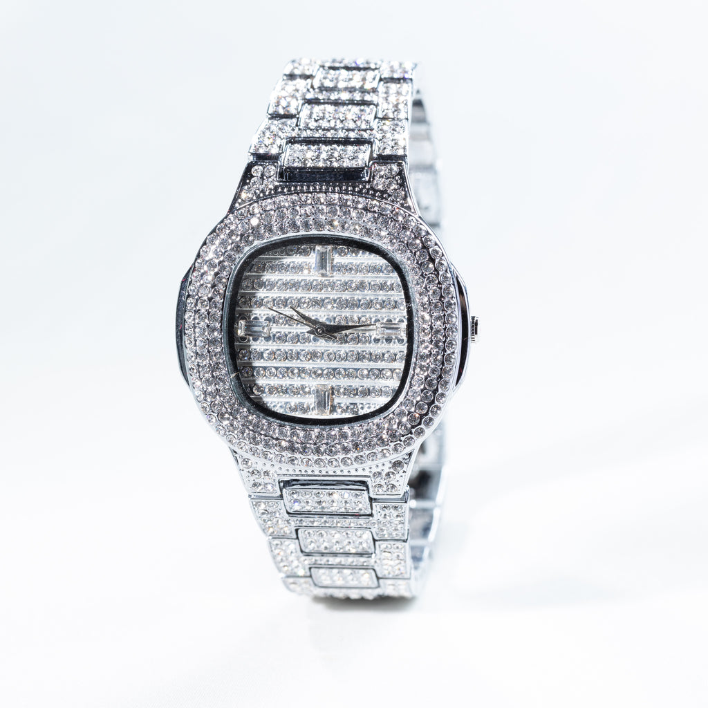 White Gold Hiphop Watch