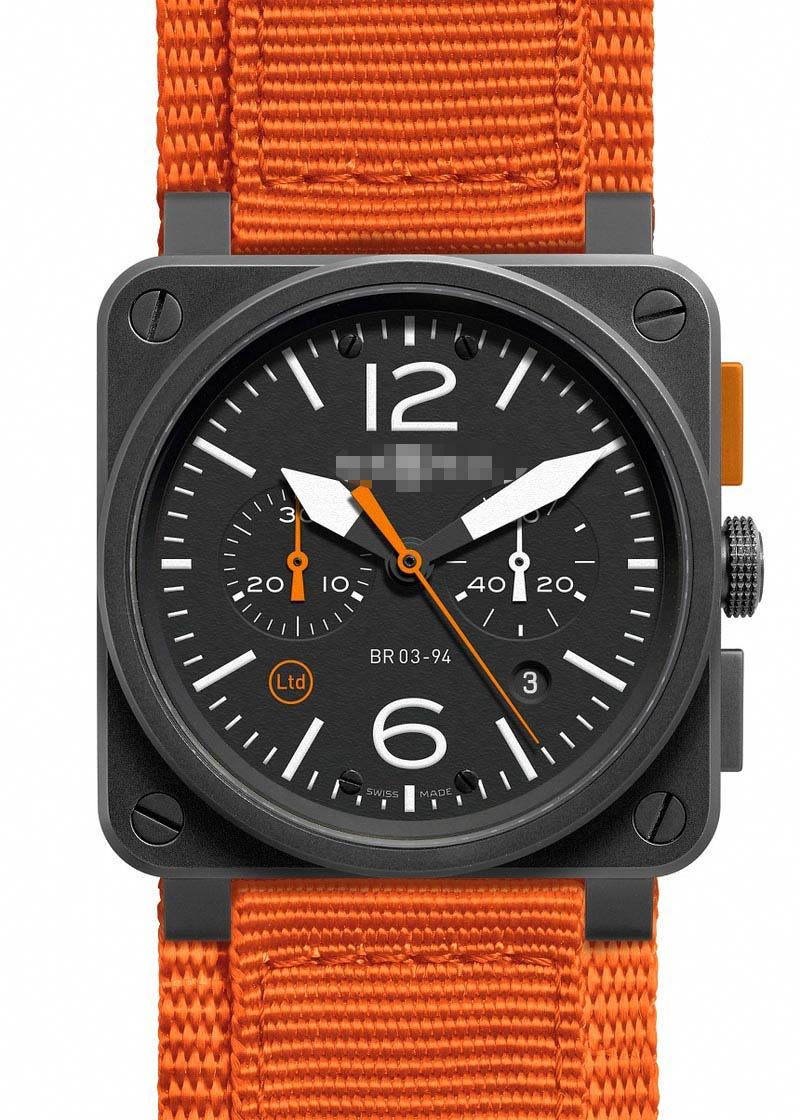 Custom Watch Face BR03-94-Carbon-Orange