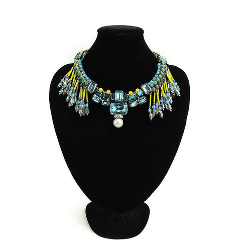Wholesale Multi Bead Fringe Statement Bib Handmade Necklace Custom Bijoux