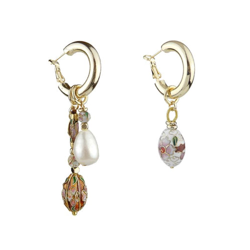 Wholesale Mismatched Pearl Cloisonne Earrings