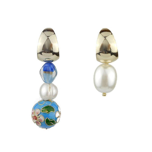 Wholesale Asymmetrical Cloisonne Pearl Handmade Drop Earrings Custom Bijoux