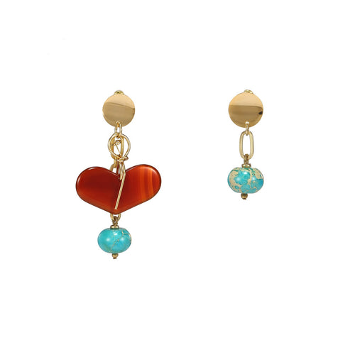Wholesale Agate Turquoise Mismatched Heart Earrings