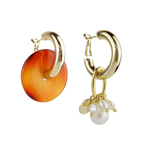 Wholesale Hoop Mismatched Pearl Earrings