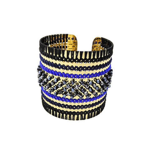 Wholesale Chunky Bead Embroidery Cuff Handcrafted Bracelet Jewelry Custom Bijoux
