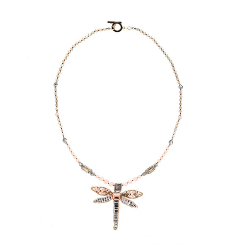 Wholesale Luxurious Beaded Embroidered Dragonfly Pendent Handmade Necklace Custom Bijoux